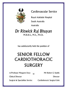Australia Certificate of Dr. Ritwick Raj Bhuyan